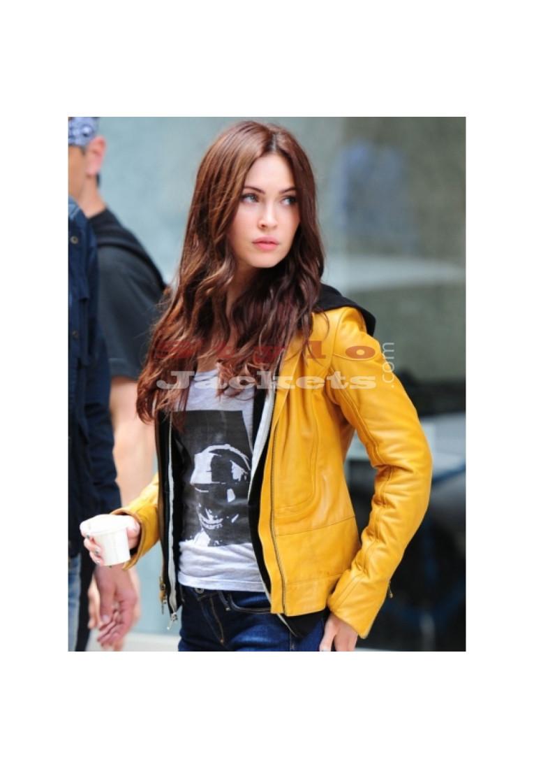 Megan Fox Teenage Mutant Ninja Turtles Yellow Leather Jacket