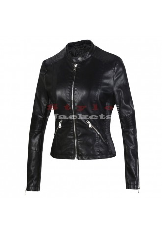 Fashion Slim Fit Motorcycle Ladies Leather Jacket