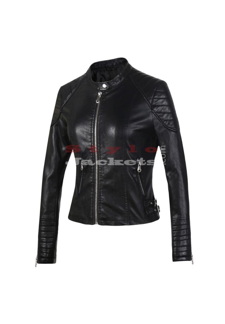 Mandarin Collars Supernova Women's Slim Fit Black Leather Jacket
