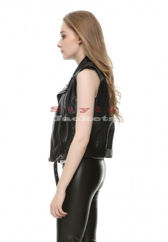 Cool Black Ladies Motorcycle Sleeveless Leather Jacket