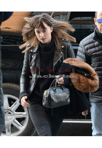 Dakota Johnson Celebrity Style Black Slim Fit Bikers Jacket