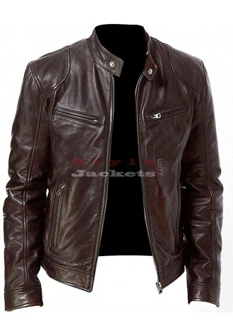 Cafe Racer Retro Motorcycle Cowhide Leather Jacket