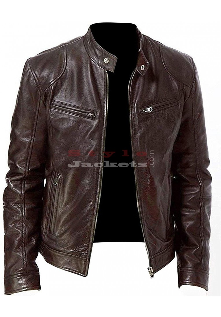 Cafe Racer Retro Motorcycle Leather Jacket