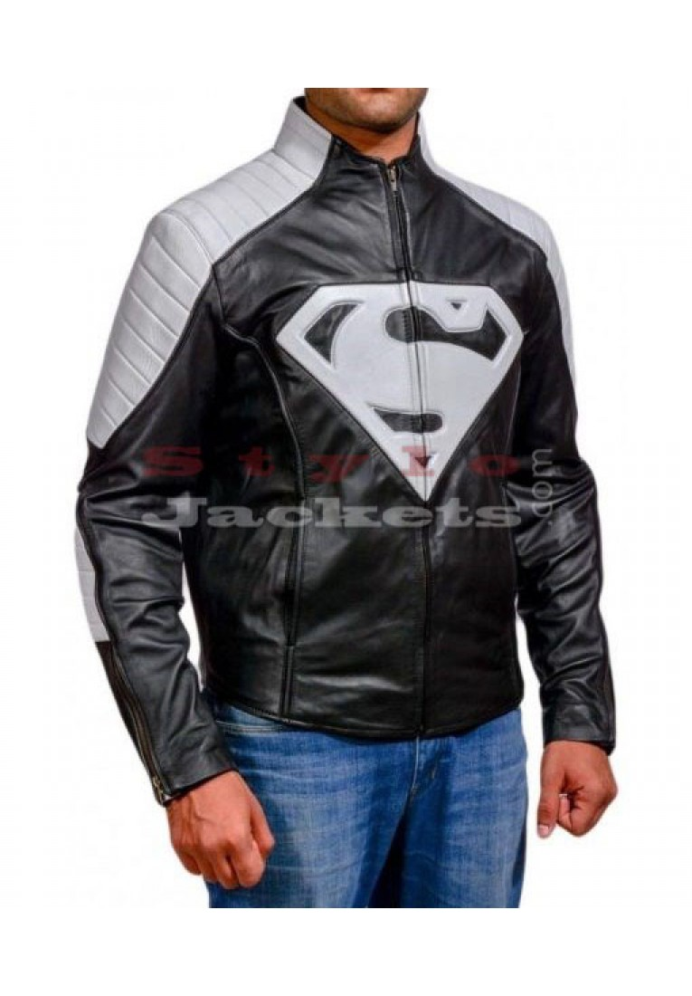 Superman Smallville Black & White Leather jacket