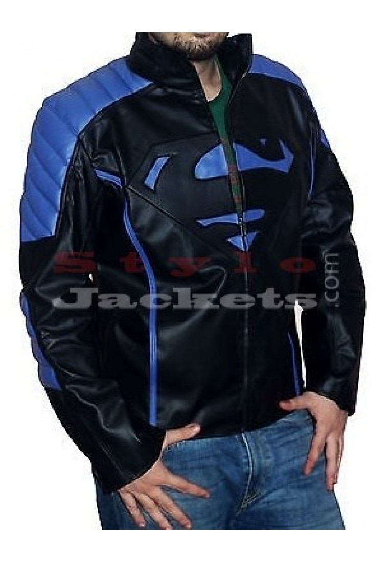 Superman New Style Black With Blue Leather Jacket