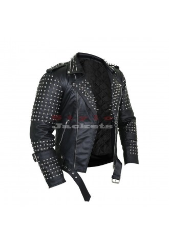 Men Black Steam Punk Leather Jacket