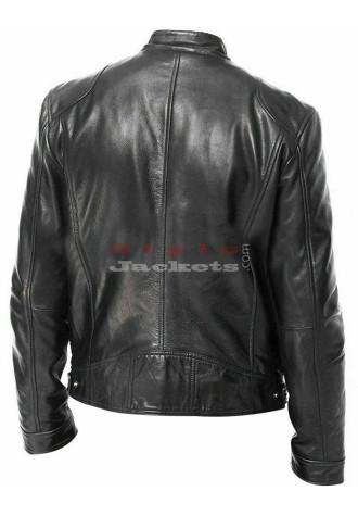 Men Vintage Cafe Racer Black Leather Jacket