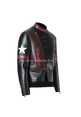 Star Patch Black Biker Leather Jacket