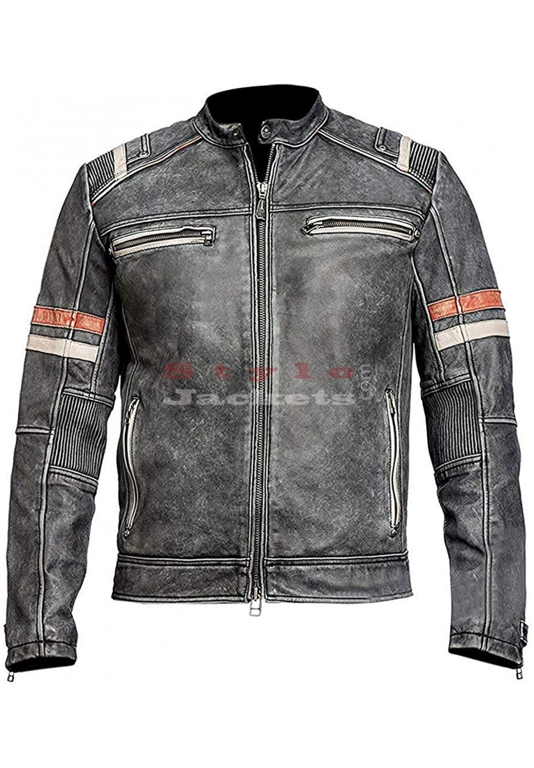 Cafe Racer Retro 2 Biker Style Distressed Leather Jacket