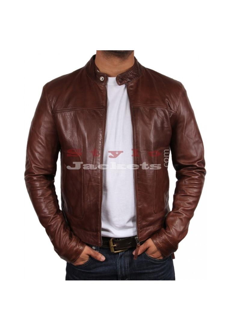Slim Fit Brown Moto Leather Jacket